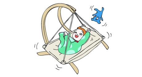 Dessin d'un bébé dans un landeau